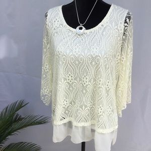 Tops - HOST PICK🌻🌻🎉. Light yellow lined lace top XL